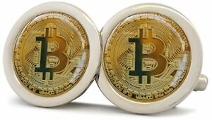BITCOIN-CRYPTOCURRENCY-SILVER-POLISHED-FINISH-CUFFLINKS-NEW