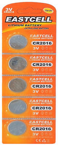 5-x-CR2016-3V-Lithium-Knopfzelle-75-mAh-1-Blistercard-a-5-Batterien-EASTCELL