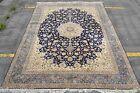 Isfahan Silk base 700 KPSI 11x14 masterpiece Esfahan Persian Rug Royal Navy