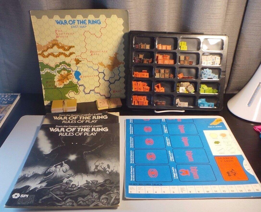 Guerra del anillo SPI 1977 Tolkien El Señor de los Anillos Juego de Mesa 2 Tarjetas de Juego Reglas Libro