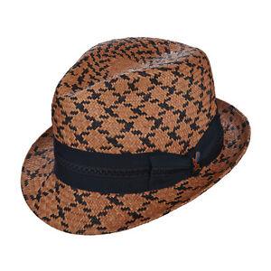 STACY ADAMS ** MENS BROWN PORK PIE HAT ** NEW ROCKER SUN SHADY DRESS STRAW PIMP
