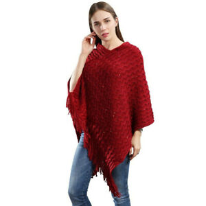 Red-Knit-Crochet-Poncho-Sweater-Cape-w-Sequin-amp-Fringe-One-Size