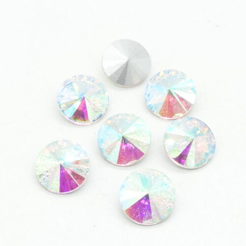 White AB faceted Crystal glass Rivoli round Beads Jewels 6//8//10//12//14//16//18mm