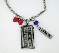 Licensed Doctor Who Multi Charm Bowtie Tardis Necklace Stainless Steel