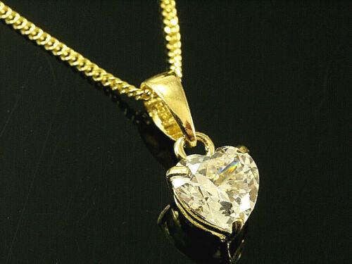 585 Goldkette mit kleinem Zirkonia Herz Anhänger  585 Gelbgold
