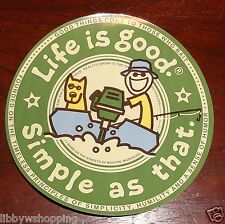 """Life is Good Sticker 4"""" Round """"Simple as That"""" Motor Boat Green/Blue/Gold"""