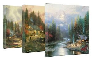 Thomas-Kinkade-End-Of-A-Perfect-Day-Set-of-3-Wrapped-Canvases-14-x-14-G-Wrapped