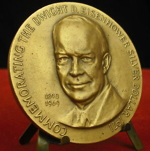 * Médaille 1971 Dwight Eisenhower Silver Dollar Commemorating Par J.j Medal 铜牌