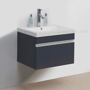 sink 24 black modern bathroom cabinet wall hung mount floating sink