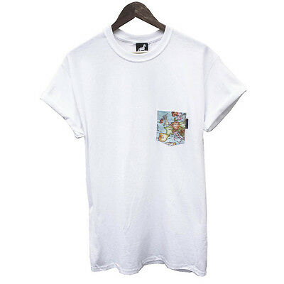 Agora Atlas World Map Pocket Tee T Shirt 5 Panel 10 deep NEW