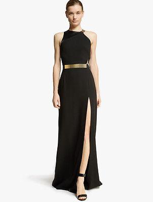HALSTON HERITAGE Metal Plate Crepe Gown Black