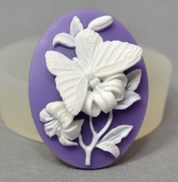 BUTTERFLY CAMEO - silicone mould - food use, resin, fimo, polymer clay, mold