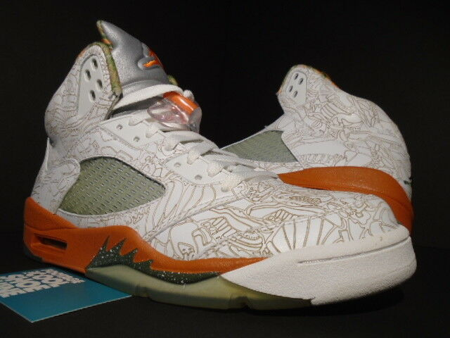 4e91a64f7d2 Nike Air Jordan 5 RA Laser White Army Olive Solar Orange Bison Size 9  (3037) for sale online | eBay