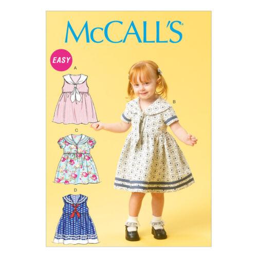 McCall/'s 6913 fácil patrón de costura para hacer vestidos del Niño con collares de marinero
