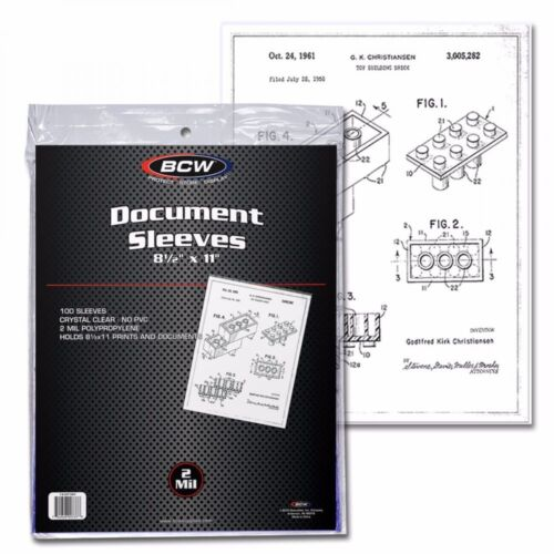 500 BCW 8.5x11 Document Soft Poly Sleeves Acid Free Print Holder Archival