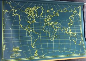 Rare vintage schoolmilitary 42 x 60 world pull down map by a j rare vintage school military 42 034 x 60 gumiabroncs Image collections