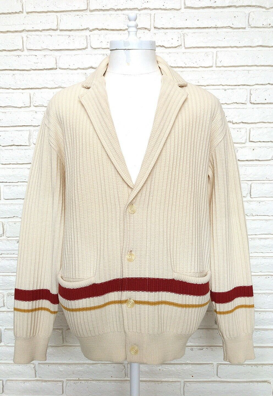 Herren ERMENEGILDO ZEGNA 100% Wool Cream Cardigan Sweater Größe 50 Made In