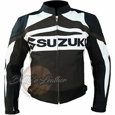 New SUZUKI GSX Motorbike Motorcycle Biker Racing Real BROWN Leather Jacket Coat
