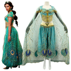 UK Halloween Aladdin Princess Jasmine Adult Ladies Suit Cosplay Dress Costume