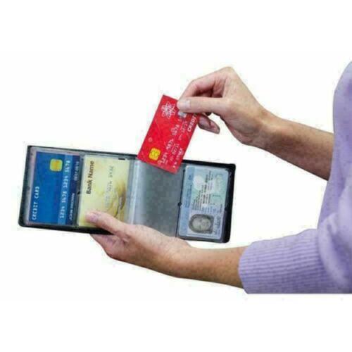 Mens Slim Wallet Kreditkarteninhaber Geldbörse schwarze RFID-Sc Nett mit Ta L0R7