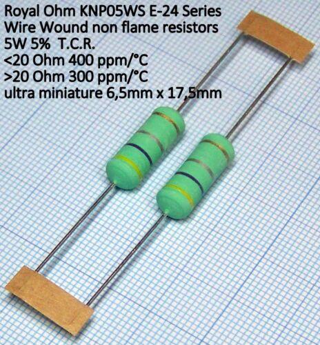 2 pezzi Resistenza a Filo avolto 1 Ohm 1R 5W 5/% ROYAL OHM KNP05WS Flame-proof