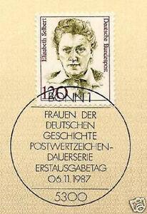 BRD-1987-Elisabeth-Siebert-Nummer-1338-mit-Bonner-Ersttagssonderstempel-1A-157
