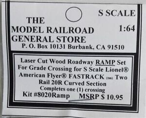 S Scale Roadway Ramps for AF 20R (Lionel) FasTrack curved grade crossing.