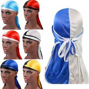New Solid Fashion Women Men Silky Durag Head Wrap Cap Summer Bandannas Rag Hat