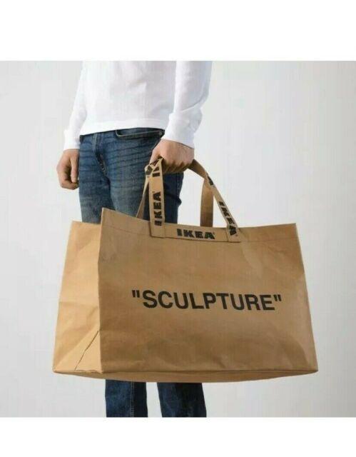 "IKEA x Virgil Abloh MARKERAD /""SCULPTURE/"" Brown Bag Tote Medium Large Off White"