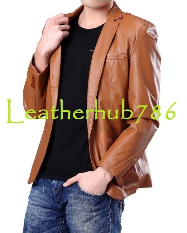 Blazer Tan Men's Handmade Genuine Lambskin Leather Single Button Casual Wear 337