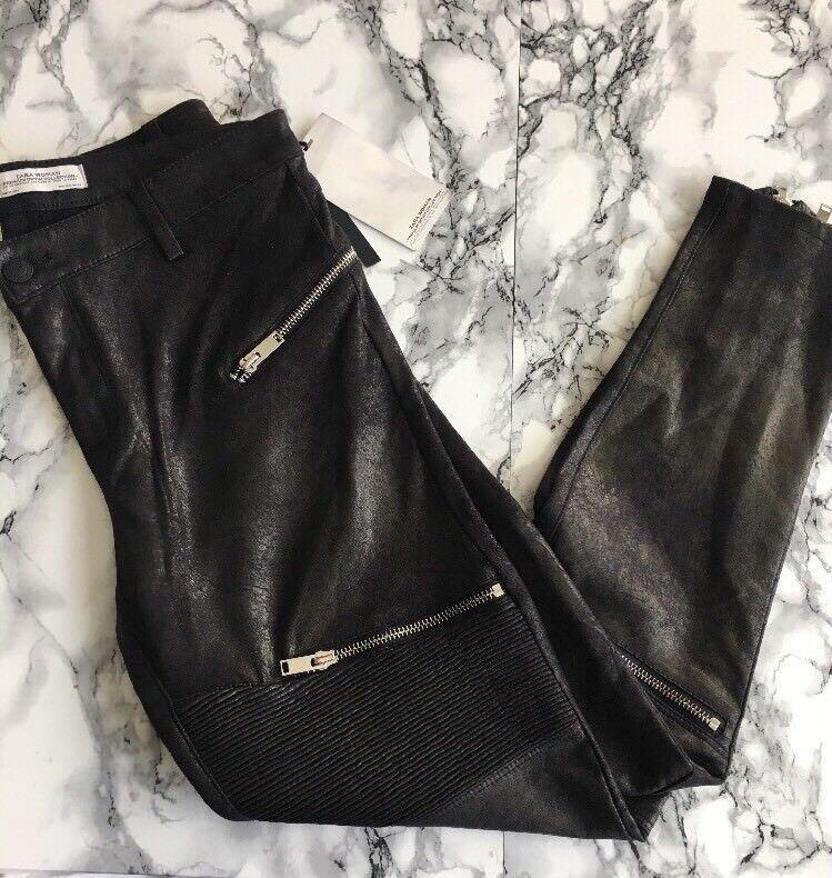 Zara Women Faux Suede Moto Skinny Oants Blk Sz NWT