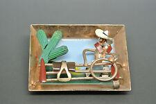 Vintage BOOK PIECE Post-war scene Cowboy cactus enamel robot whimsy brooch