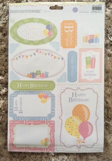 PACK OF 16 HAPPY BIRTHDAY DIE CUT CARD TOPPERS MIXED WHITE BLACK