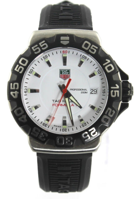 Tag Heuer Wah1111 Bt0714 Formula One 1 Watch Mens White Crystal Rubber
