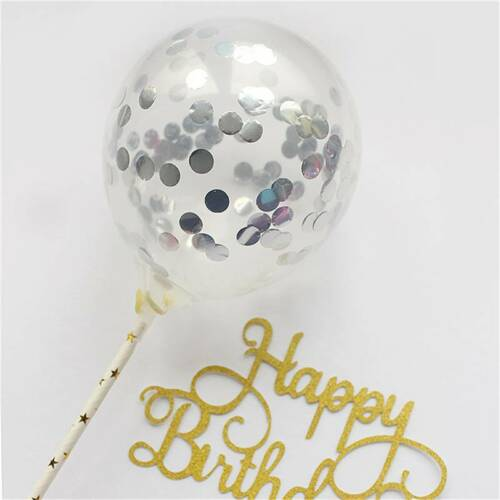 DIY Confetti Balloons Cake Topper 5 Inch Clear Confetti Balloon Cupcake Topper