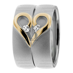 Two Tone 014Ctw Matching Diamond Wedding Bands 10K Solid Gold Heart