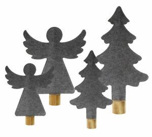 Engel Baum Aufsteller aus Filz grau mit Holz Weihnachtsdeko Fensterschmuck