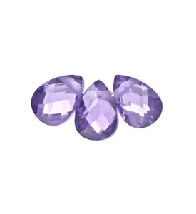 10-Cubic-Zirconia-Flat-Pear-Teardrop-Briolette-Beads-5x7mm-Purple-64772