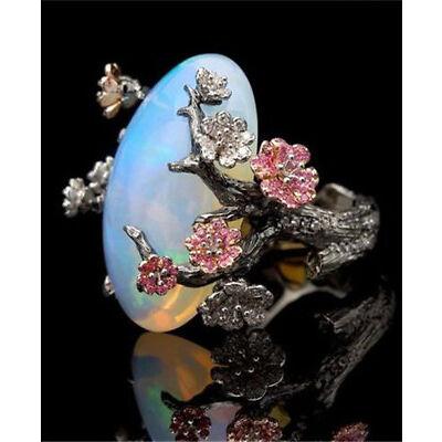 925 Silver Ring Women Jewellery Wedding Fire Opal Plum Flower Party Size 5-10
