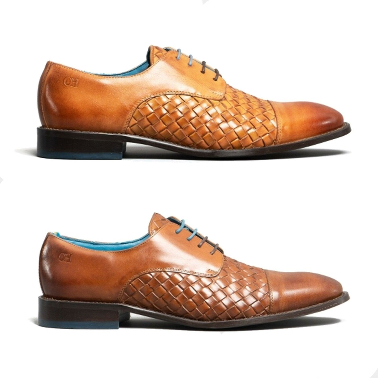 Oswin Hyde HEATH Mens Real High Quality Leather Woven Lace-Up Smart Derby schuhe