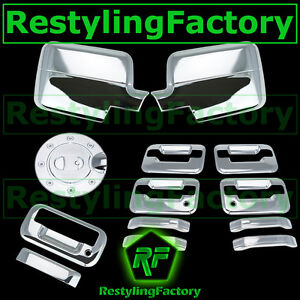 04-08-Ford-F150-Chrome-Mirror-4-Door-Handle-no-keypad-keyhole-Tailgate-Gas-Cover