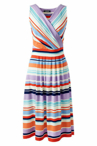 Lands End Women/'s Plus Fit and Flare Dress Eggshell White Multi Stripe New
