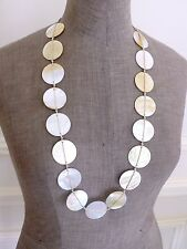 Vtg Opalescent MOTHER OF PEARL SHELL Knotted Chunky Long Necklace Belt