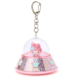 Japón Sanrio My Melody Conejo Rosa Ovni Llavero Linterna Luz LED clip para bolsa