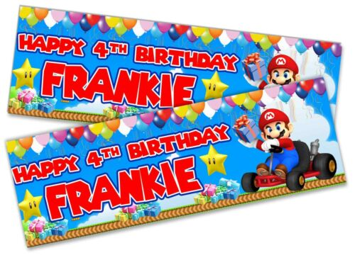 x2 Personalised Birthday Banner Super Mario Children Kids Party Decoration 8