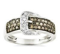 Favorite 10k White Gold Chocolate Brown & White Diamond Belt Buckle Ring .47ct