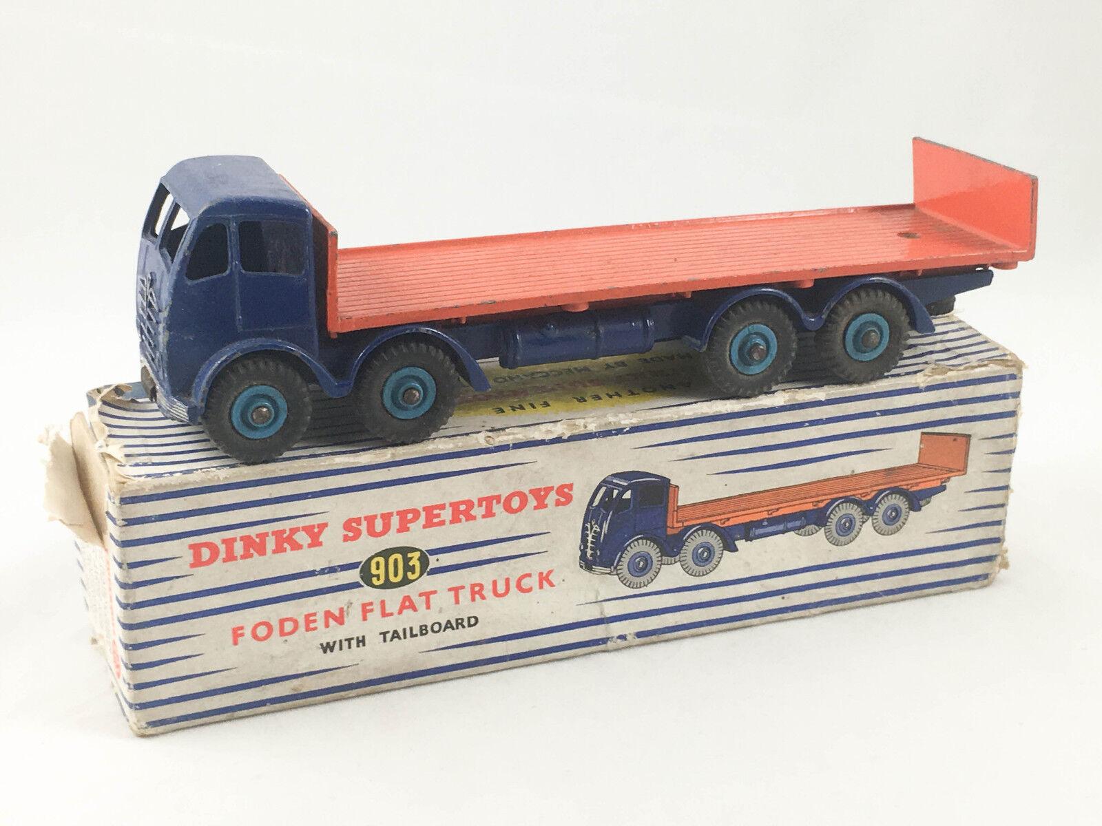 RARE Vintage DINKY SUPERTOYS # 903 FODEN piatto camion con sportello MECCANO in Scatola