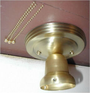 ORIGINAL-NEW-3-chain-brass-LIGHT-FIXTURE-ART-DECO-VTG-ANTIQUE-3-HOLE-GLASS-SHADE