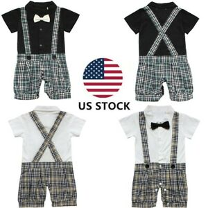 US-Baby-Boys-Romper-Birthday-Party-Wedding-Cake-Smash-Tuxedo-Waistcoat-Outfits