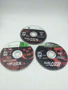 USED - GEARS OF WAR 1 2 3 Xbox 360 - Lot of 3 Bundle - Free Shipping